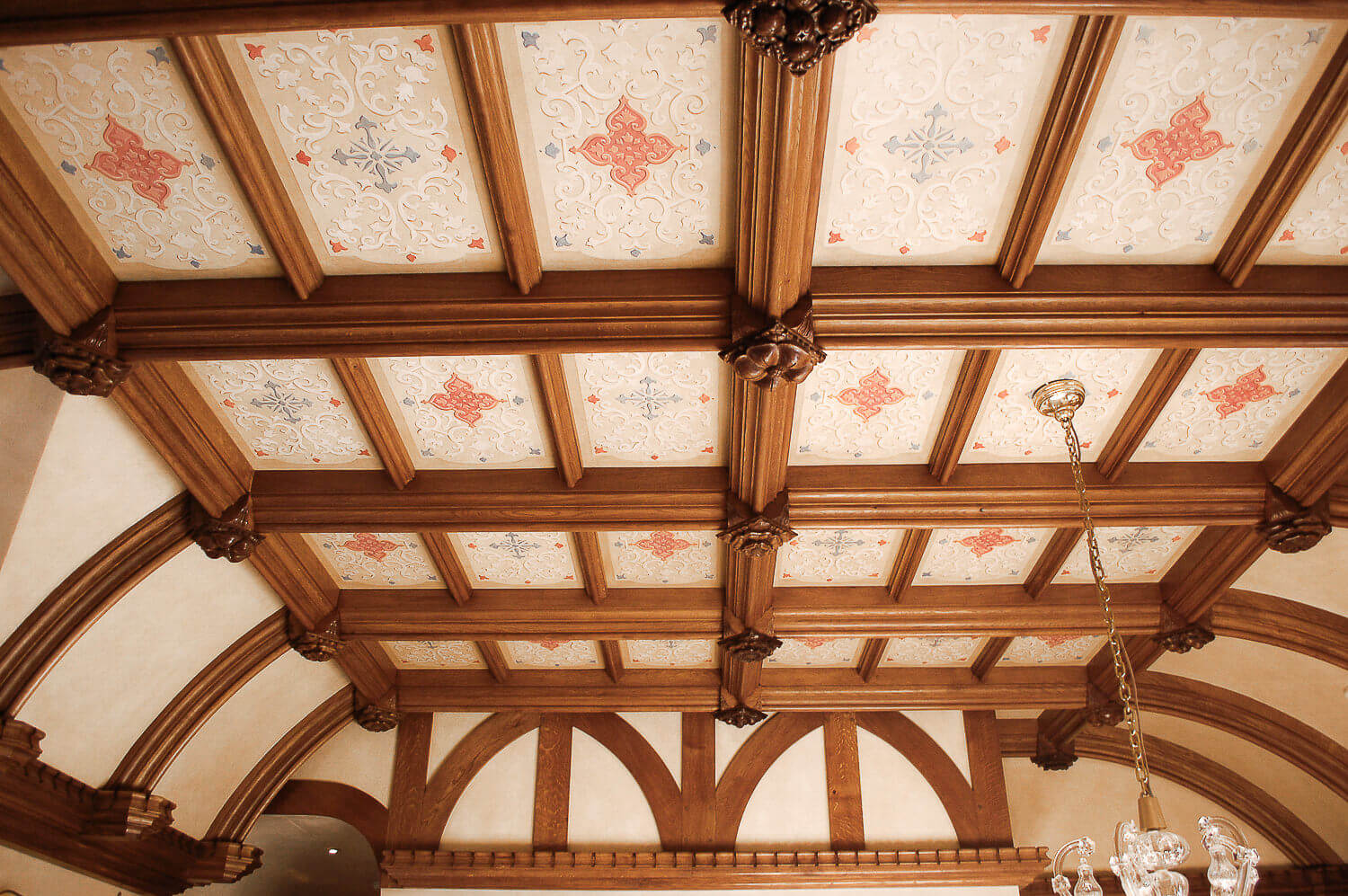 Large Tudor style oak beam ceiling with hand carved ceiling bosses bespoke period Joinery