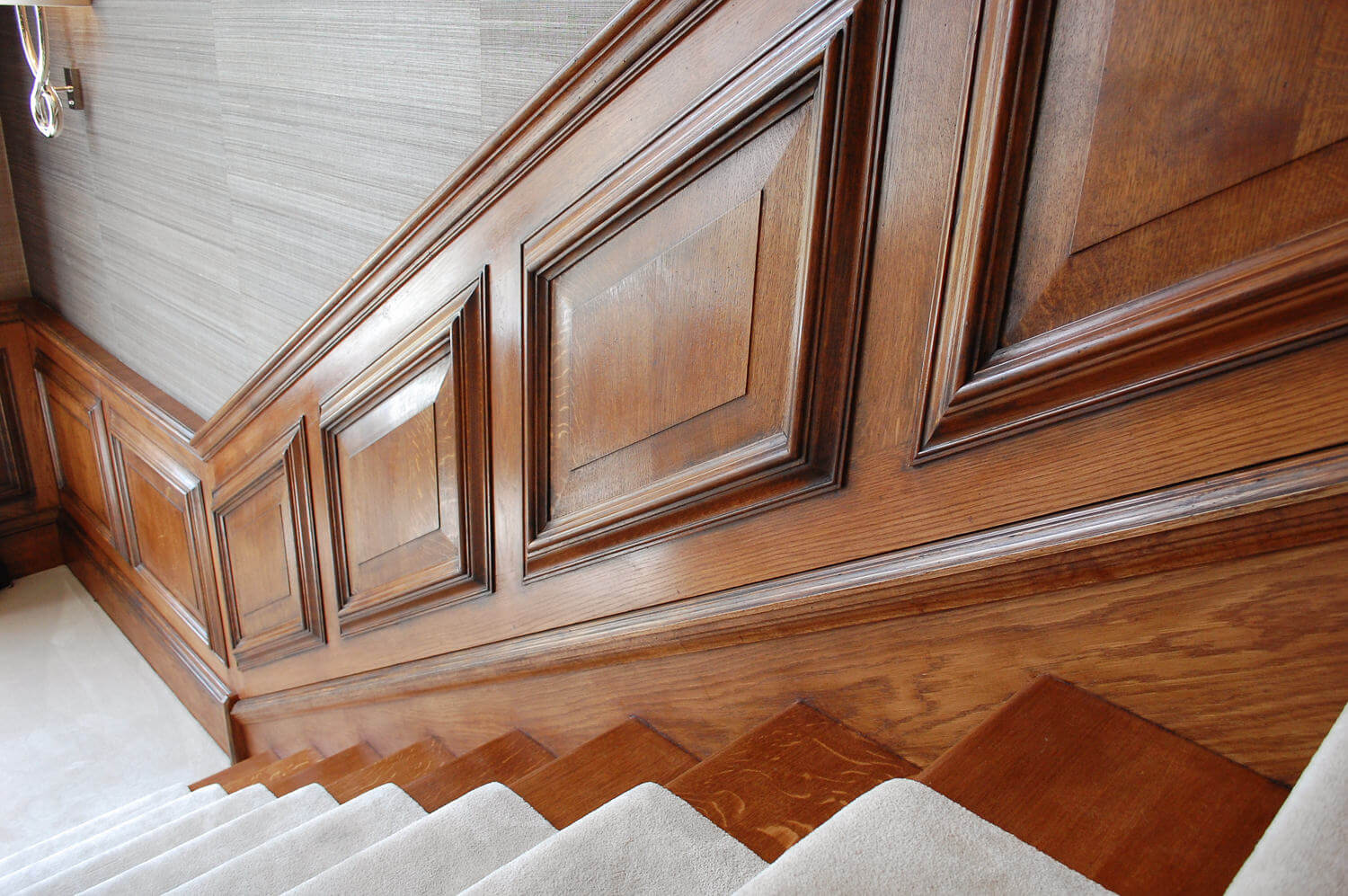 18th century style Georgian interiors and made to order bespoke staircase oak panelling