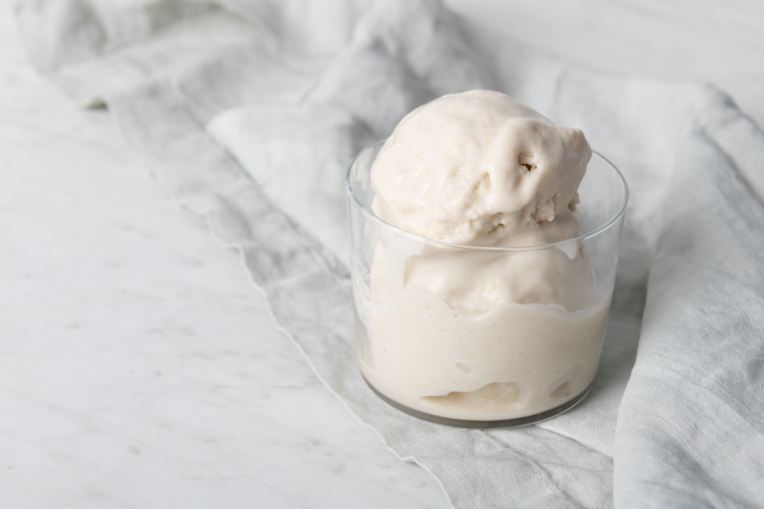WHITE CHOCOLATE COCONUT CORIANDER SORBET (DAIRY-FREE)<br><strong>Combining sweet white chocolate with the smoky, floral notes of coriander.</strong>