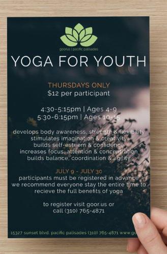 Goorus Yoga for Youth Flyer