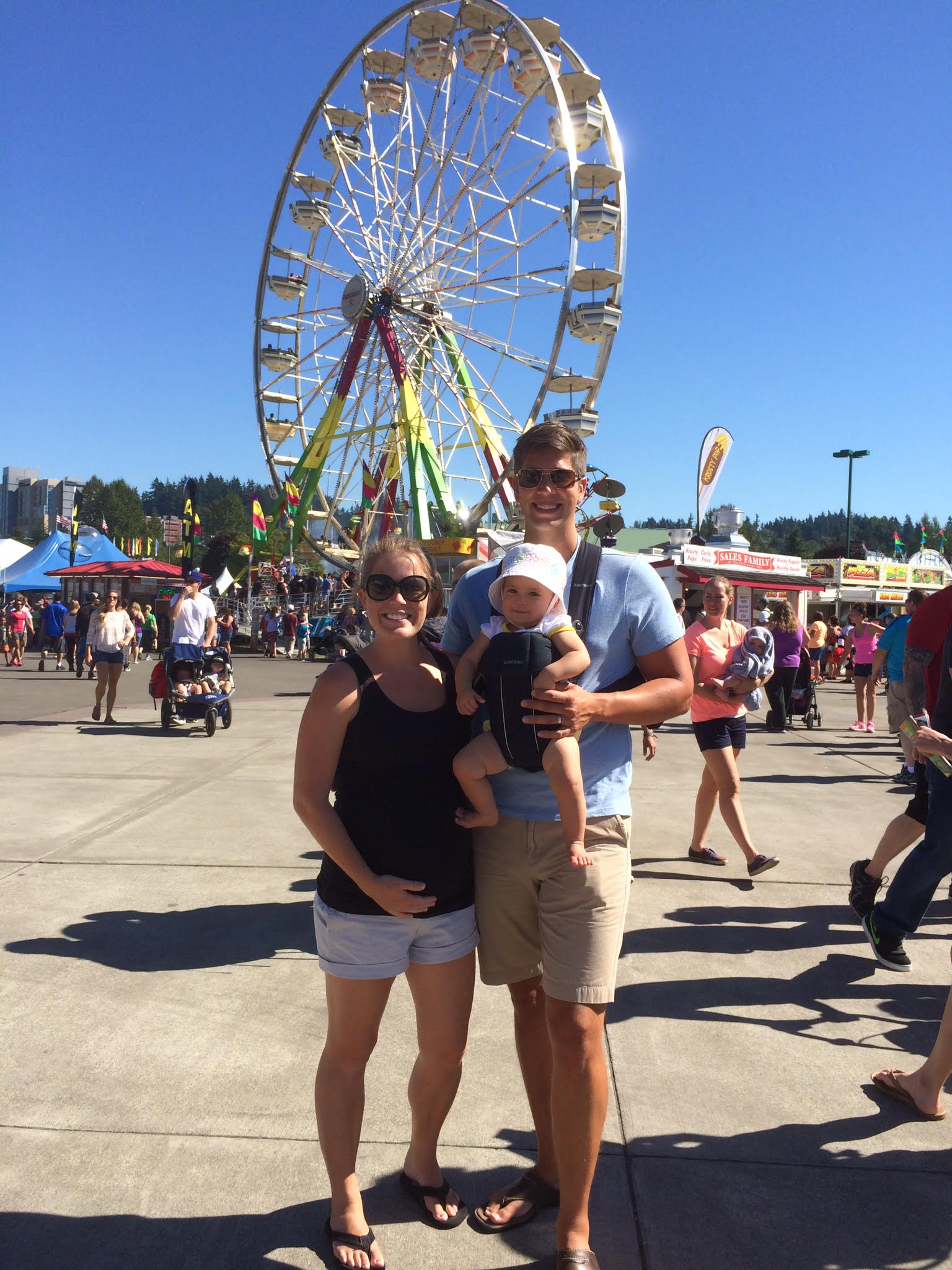 Pregnant me, Chris & Olivia at the Washington State Fair in Puyallup, WA. September 2014