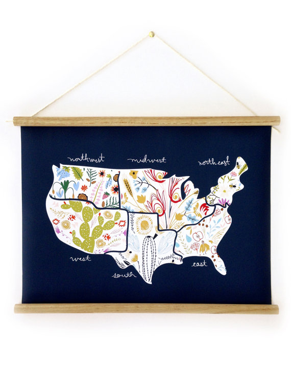 Floral American Map