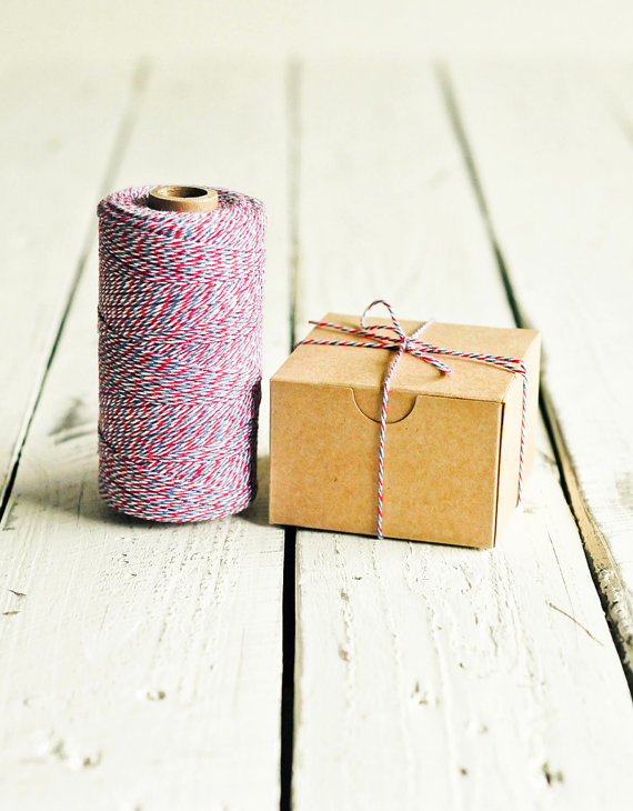 red and blue bakers twine