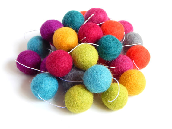 bright felt ball garland