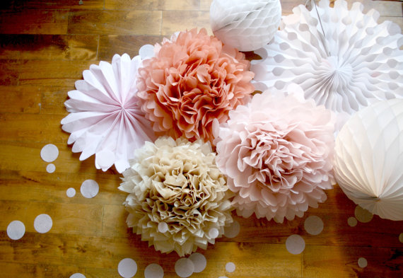 party pom poms and pinwheels