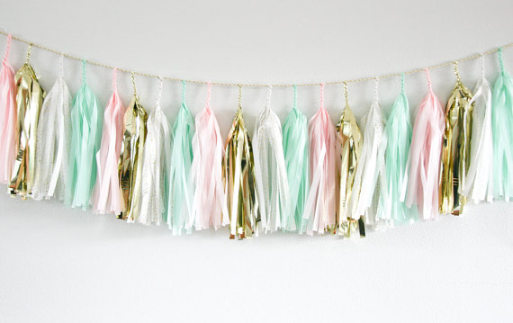 mint, pink, gold tassel garland