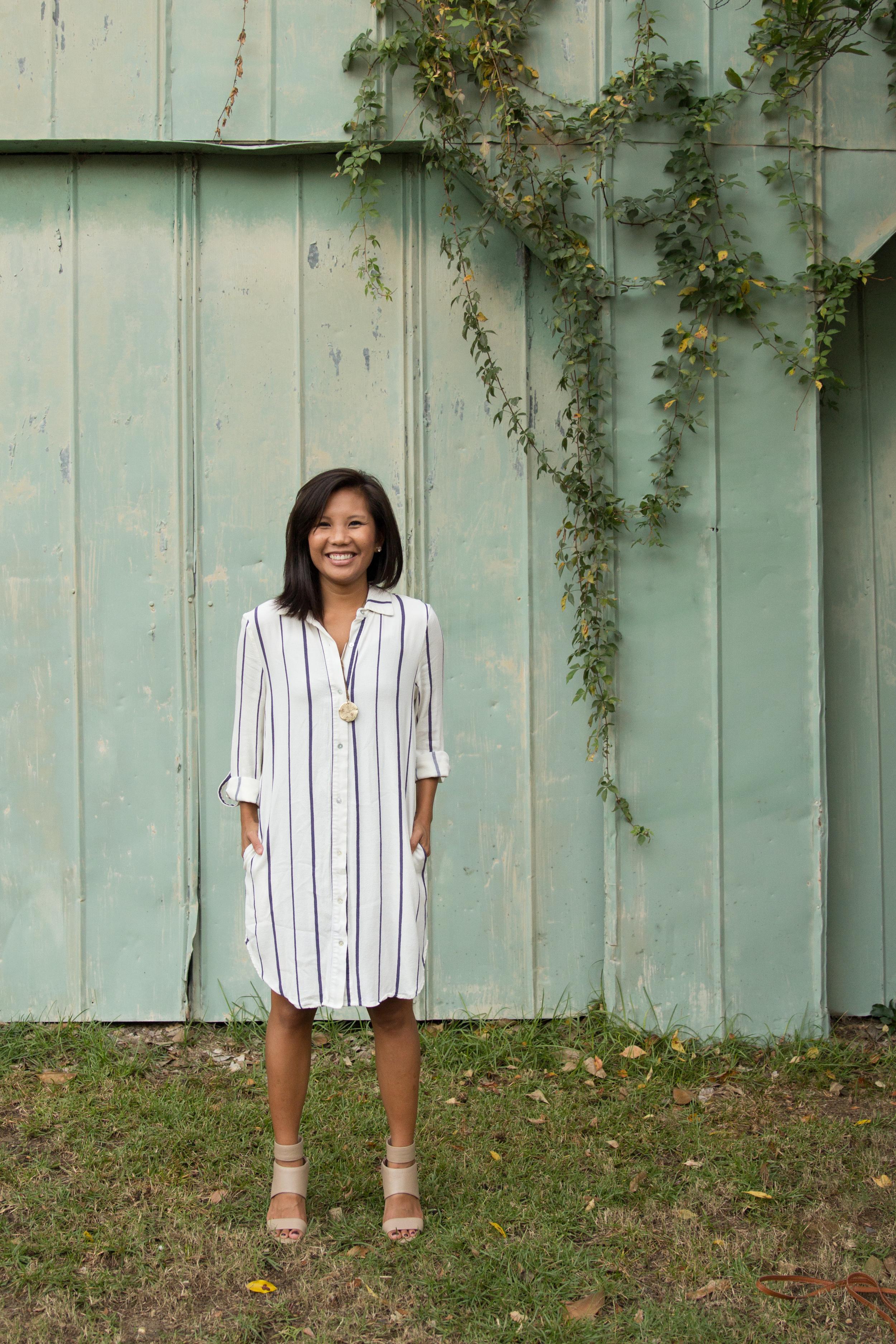Shirt dress with heels