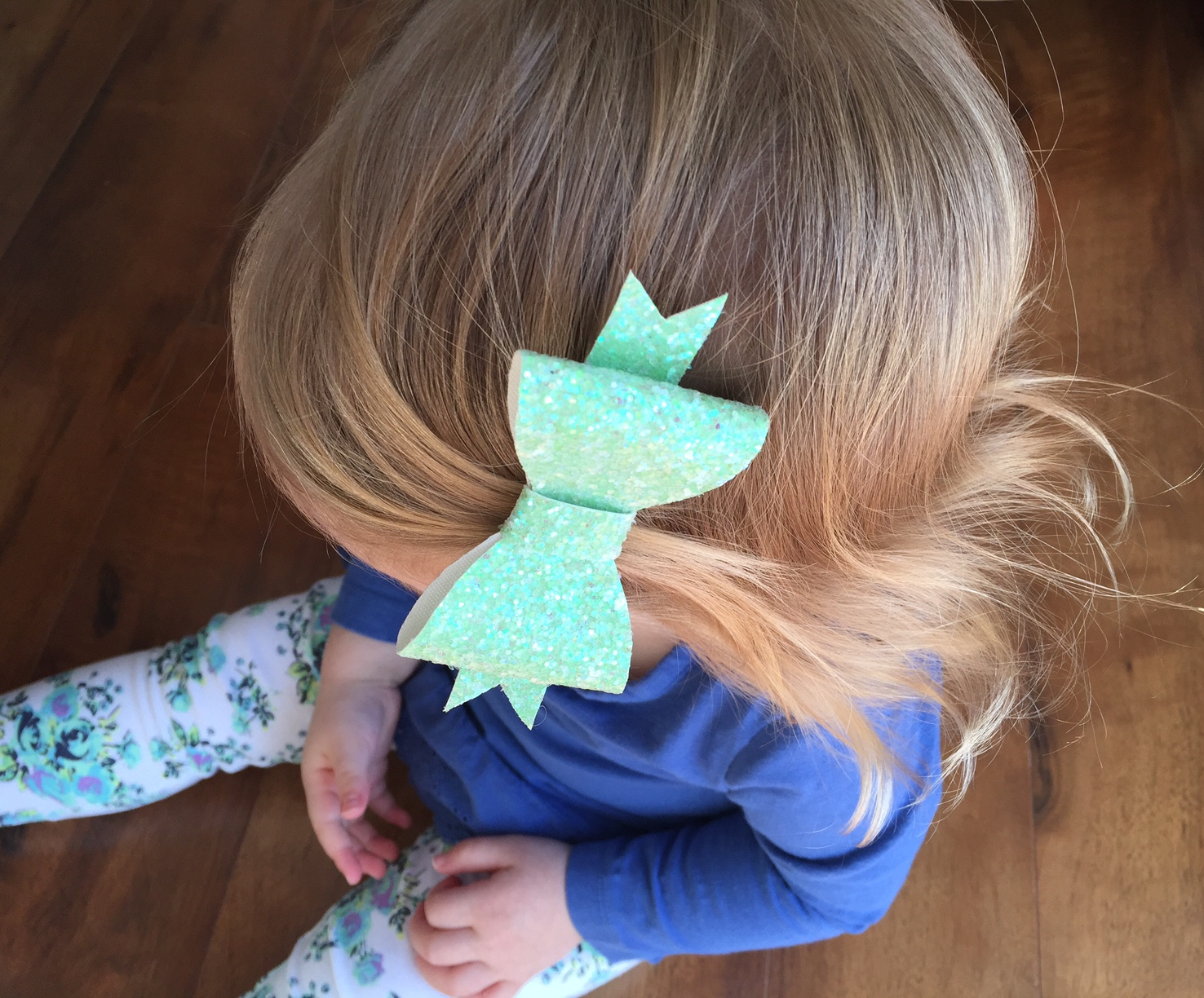 Green Glitter Bow for Little Girls