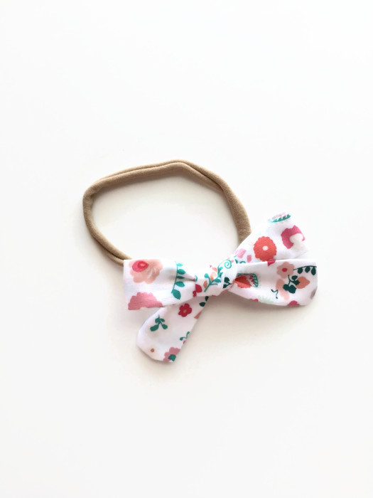 White Floral Bow for Baby Girls