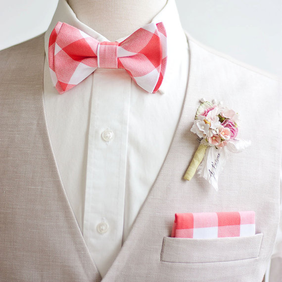 """The Belle and the Beau:  Bow Ties - 1"""" Coral Gingham Check $25.95"""
