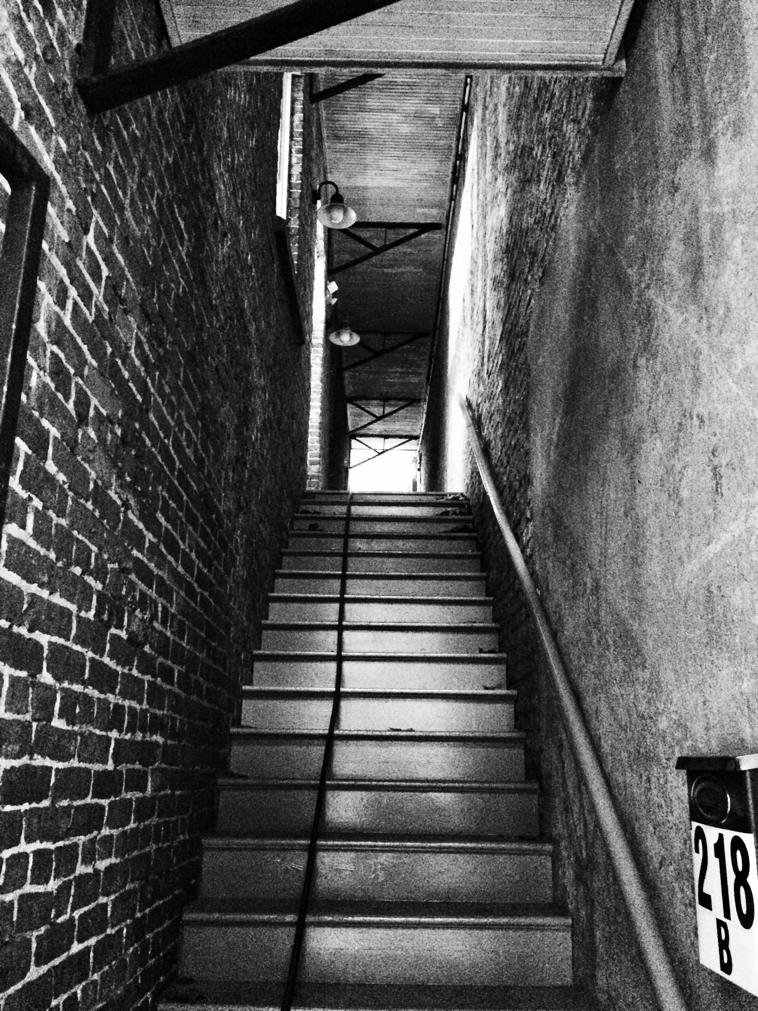Stairway leading up to the front door.