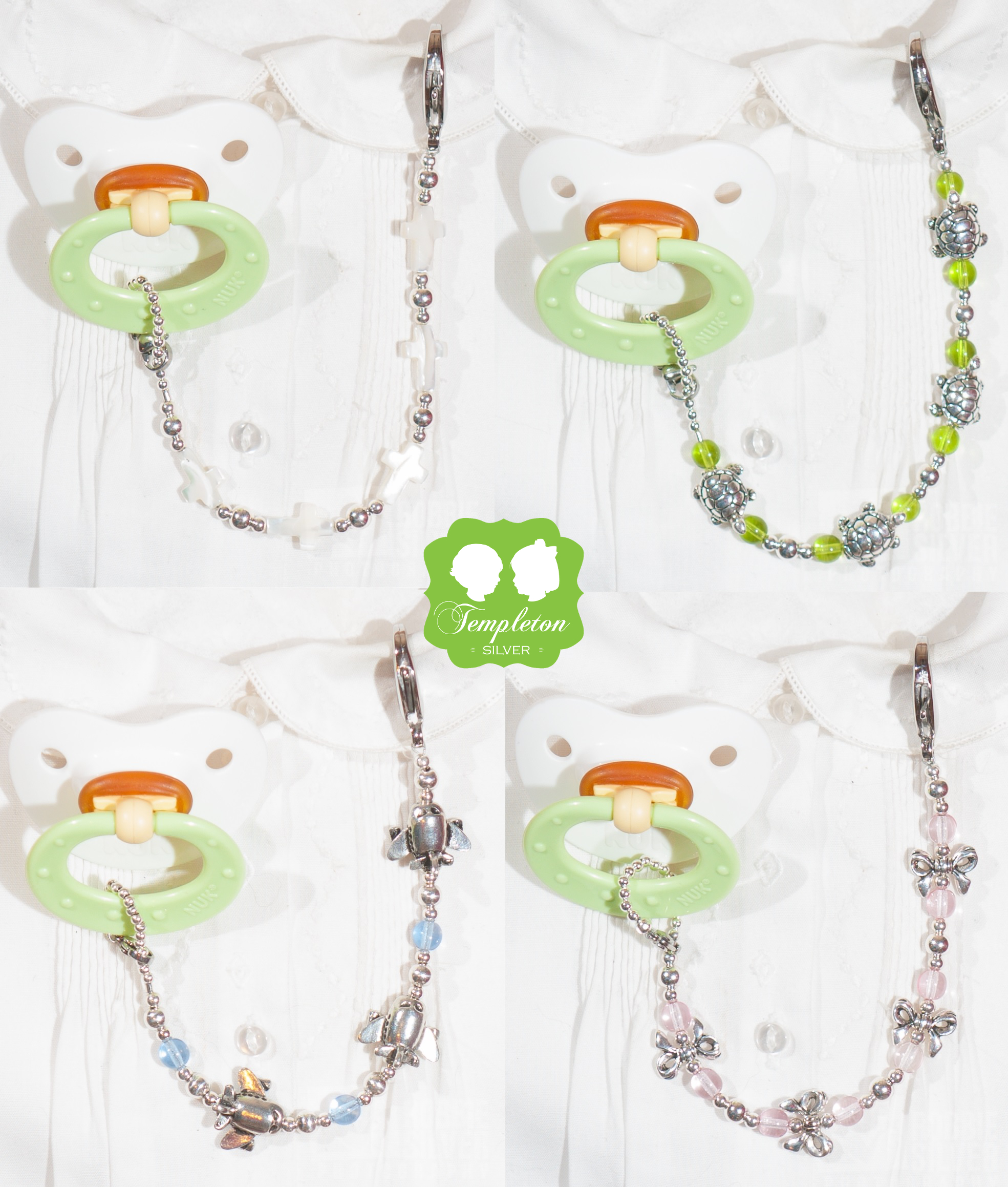 Templeton Silver Safe Pacifier Clips