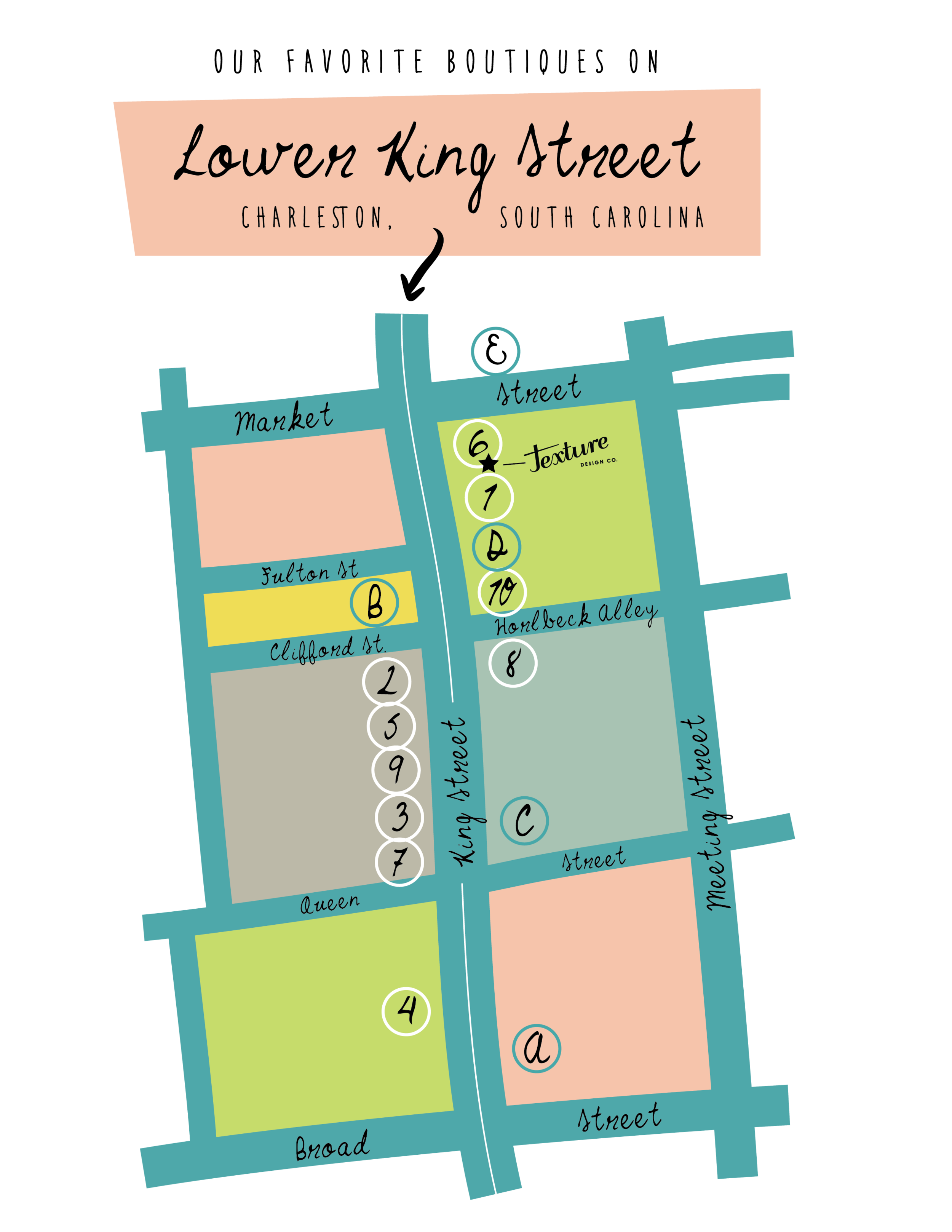 Complete Map of Lower King Street Destinations
