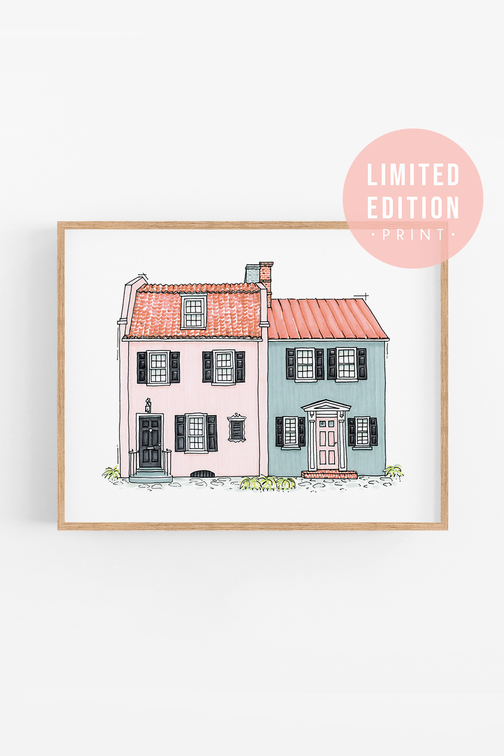 Architectural Art Print: Pink & Blue House [LIMITED EDITION]; Charleston Artwork; Girls room artwork; Whimsical Illustration