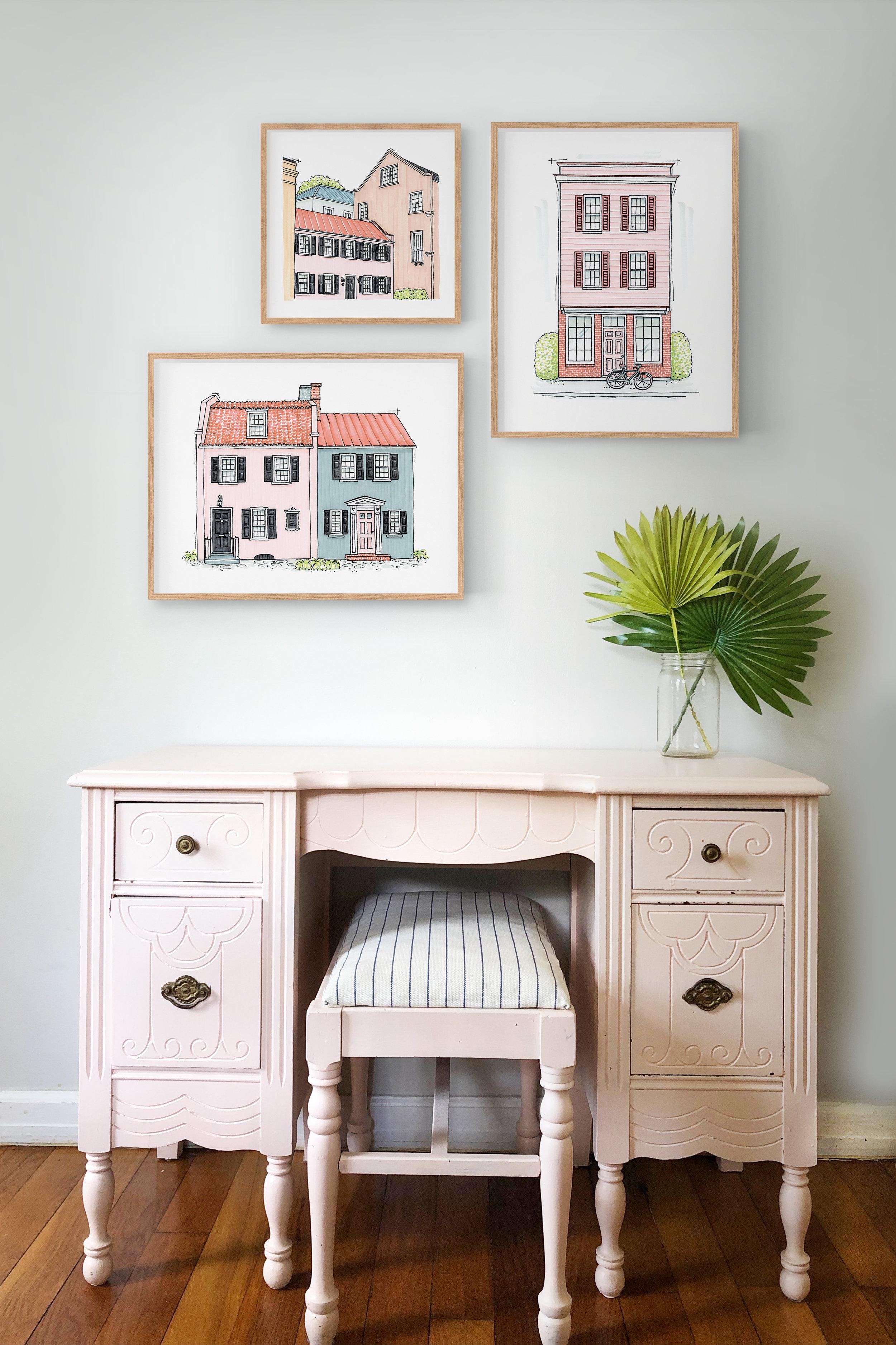 Architectural Art Print: Pink & Blue House [LIMITED EDITION]; Charleston Artwork; Girls room artwork; Whimsical Illustration