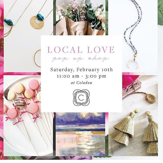 Get some #valentinesday treats and goodies @celadonhome tomorrow from 11am-3pm! I'll have macarons, cookies and cake pops available for purchase. They packaged up and ready to gift to that extra sweet valentine in your life! #locallovepopup #celadonloveslocal #shoplocal @katielibbyart @madmademetals @onawirehandmadejewerly @hart_studio @abcdcakemake @celadonhome @outofthegarden