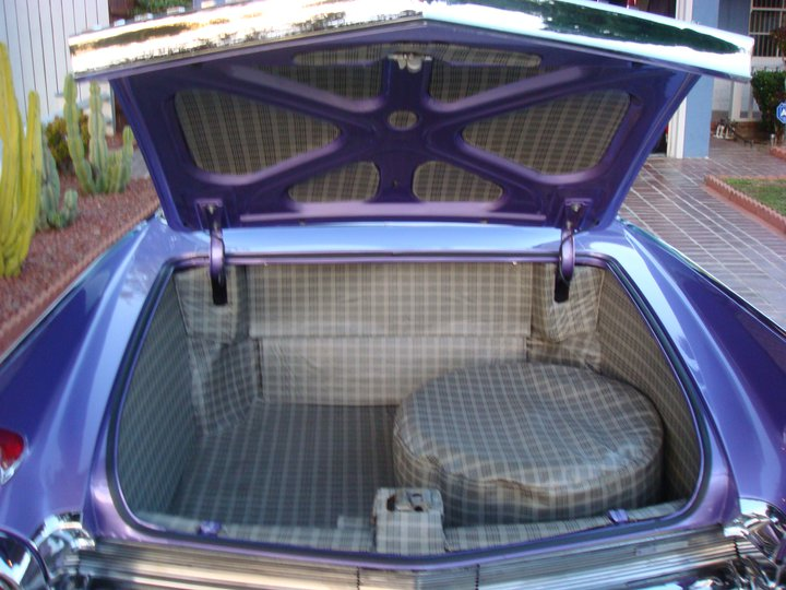 A custom trunk with hatches for air suspension tanks.