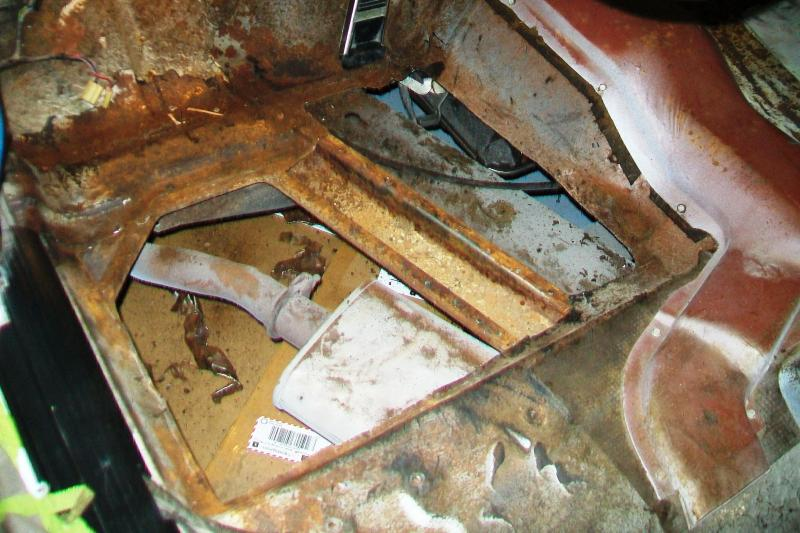 Driver side pan cut out. I had the choice of just patching or cutting out the old pan and replace with new. I opted for new floor pan, it looks better.
