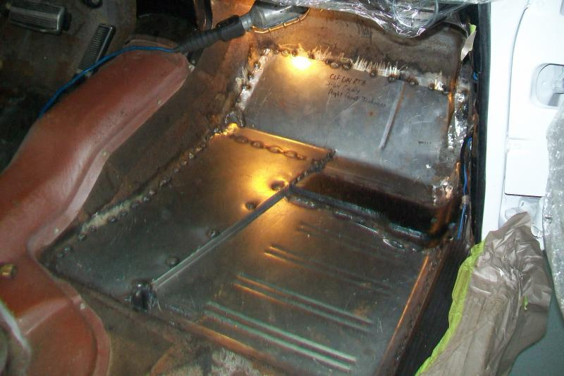 Passenger side toe board and floor pan welded into spot.
