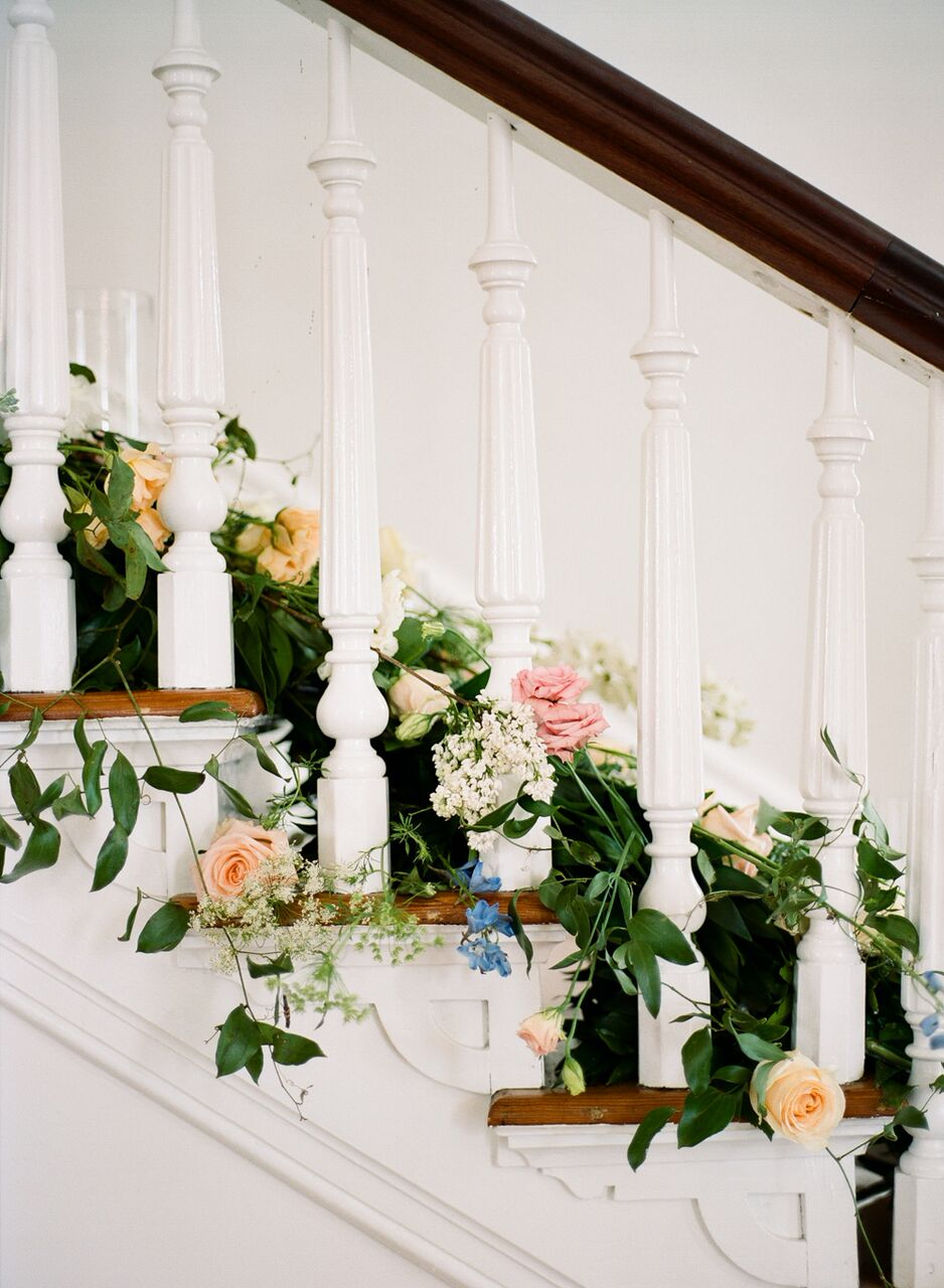 Florals by  Meristem Floral on our historic stairwell.