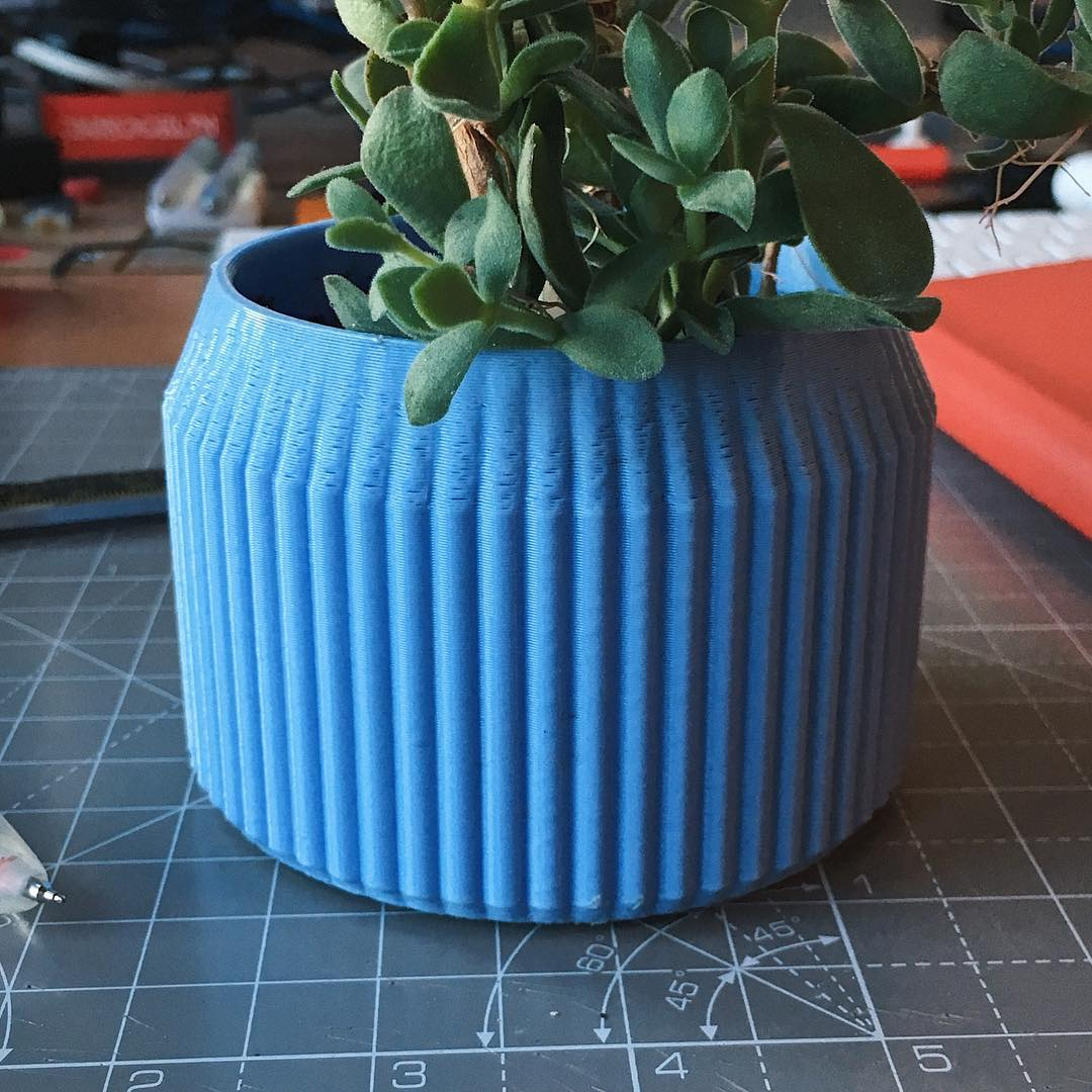 Striped planter, perfectly desk sized.