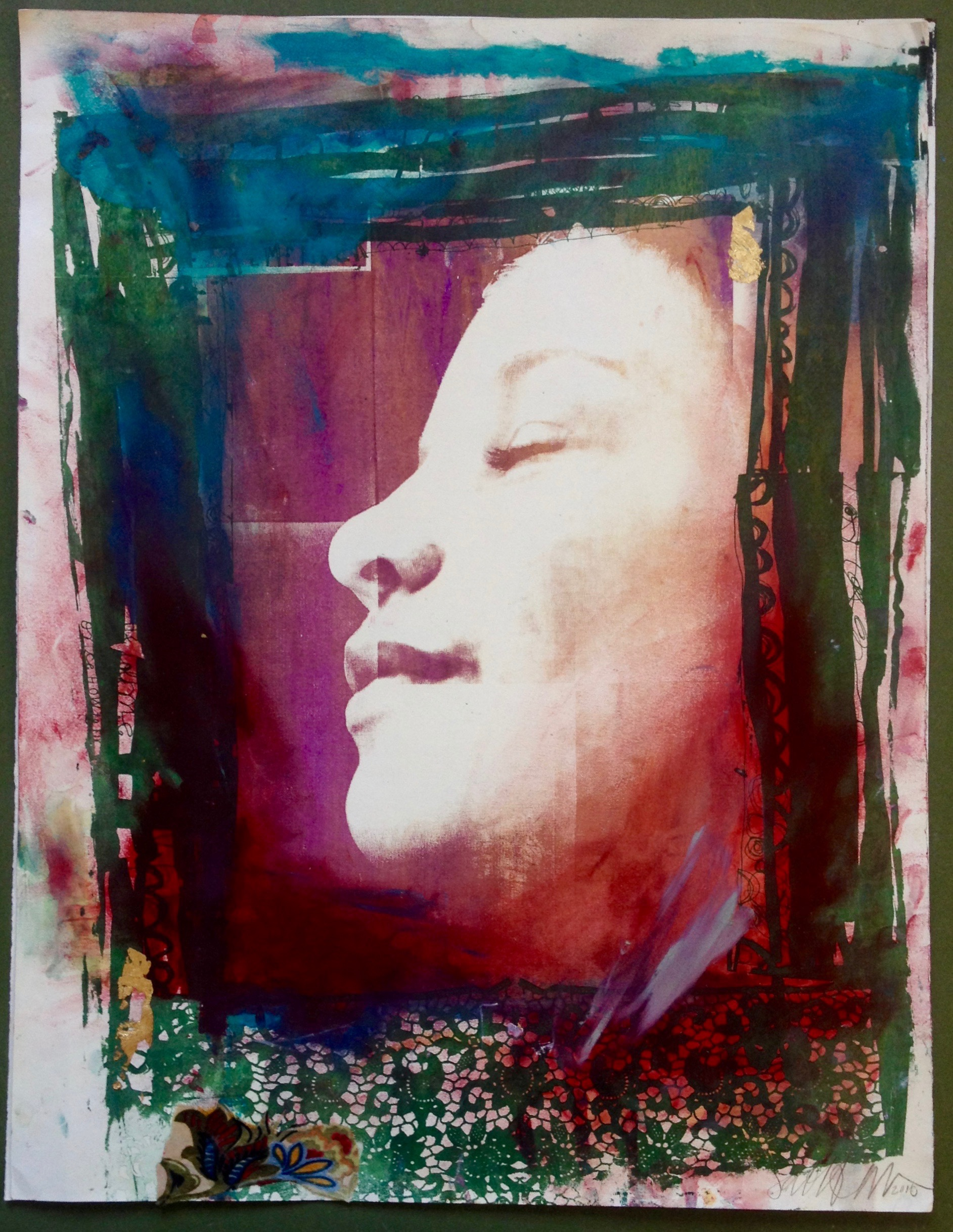 Part of a 2003 silkscreen series Sabrina made at the Mission Cultural Center