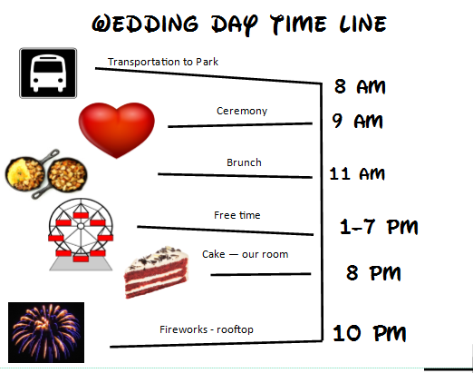 This is what the day looks like for now - As we learned from  Jeff and Michael's amazing wedding  - we're staying flexible!