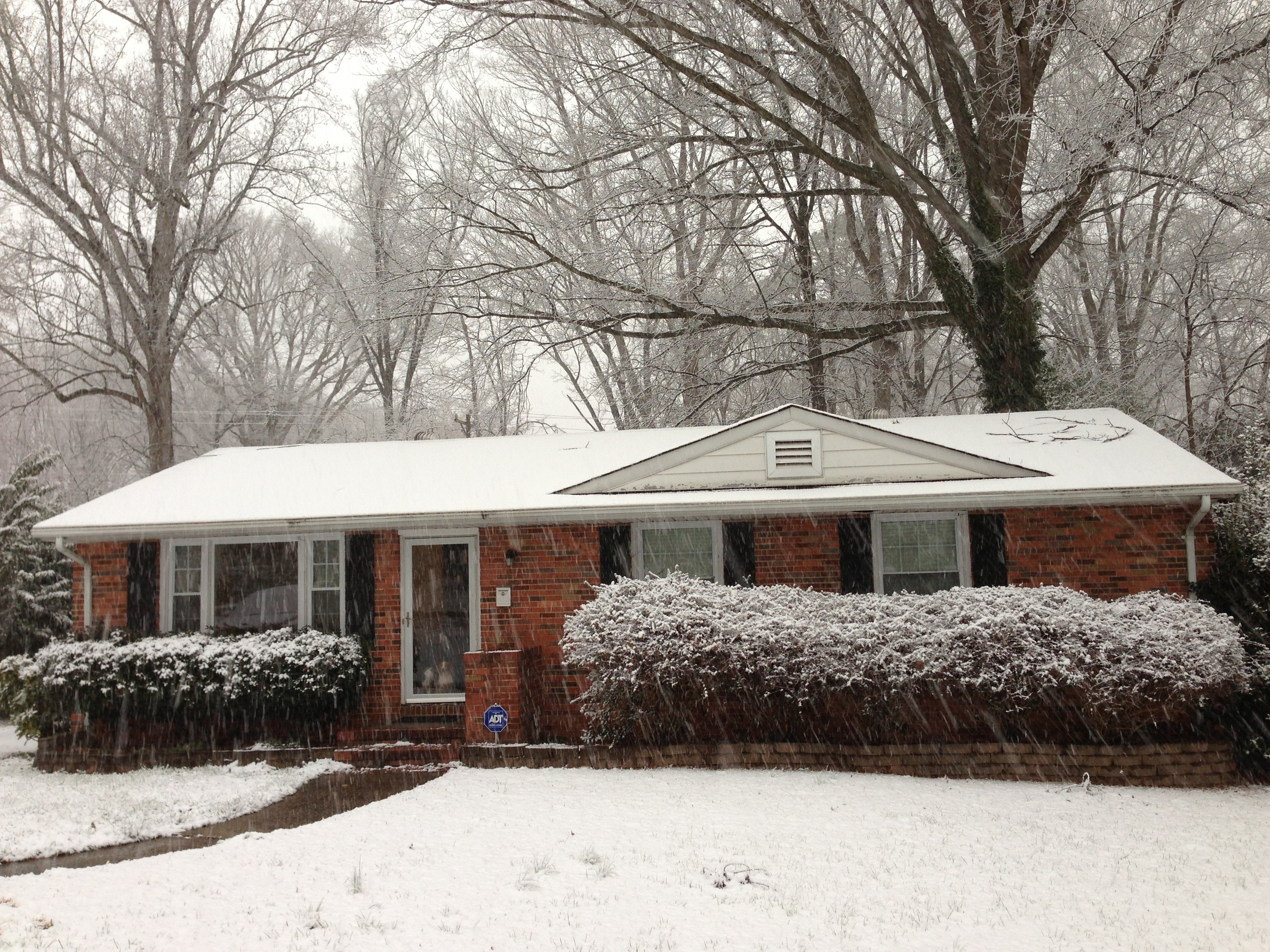 A snowy day at our house in Charlotte