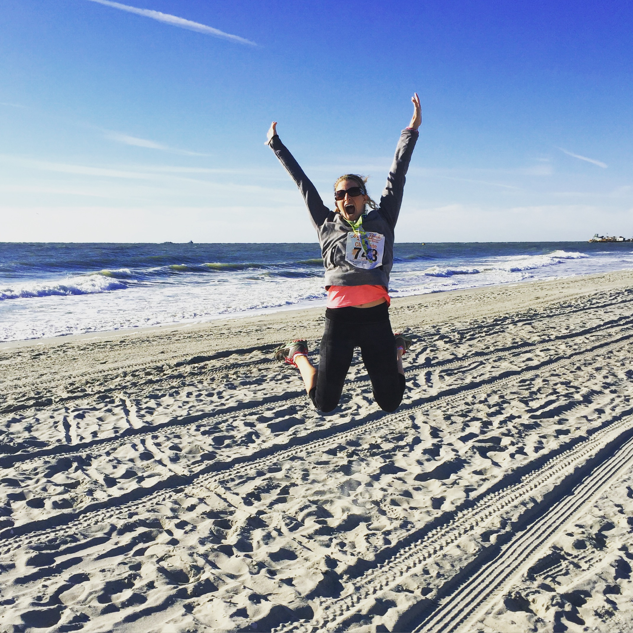 When you PR in a half marathon, you jump on the beach