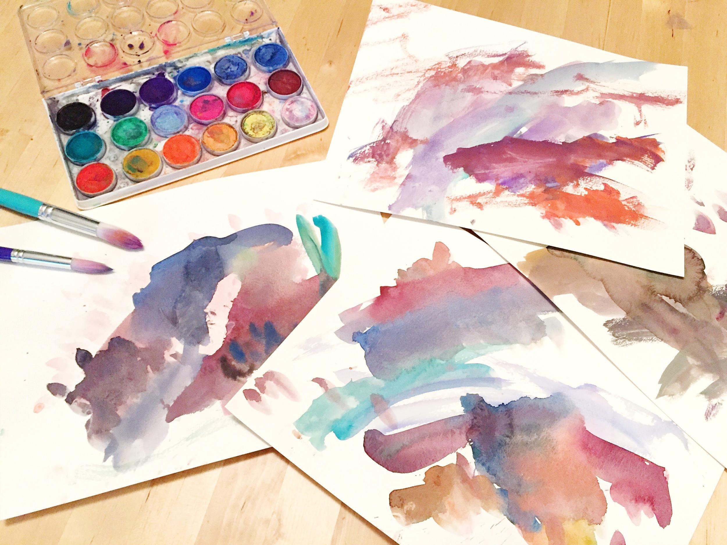 B's watercolor paintings - very Fall-LIke colors