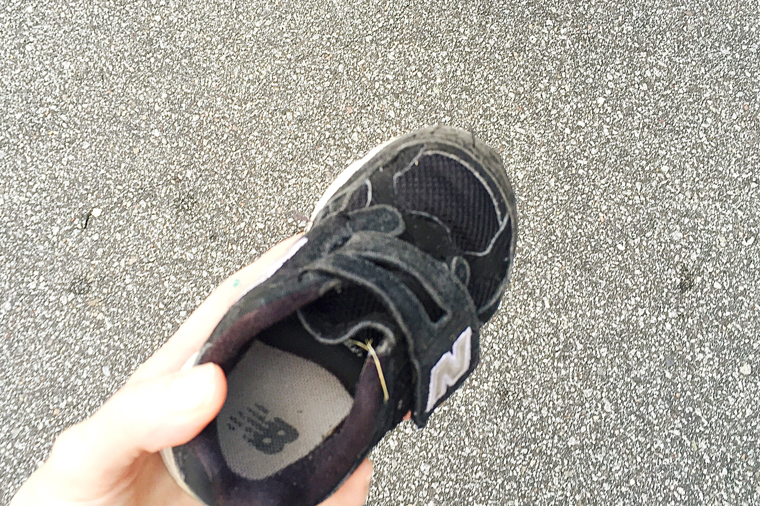 My son's shoe - Yep, I carried it during the race