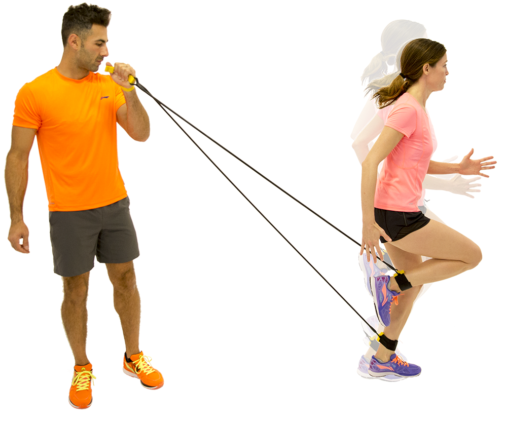 Correct overstriding with partner resistance band running