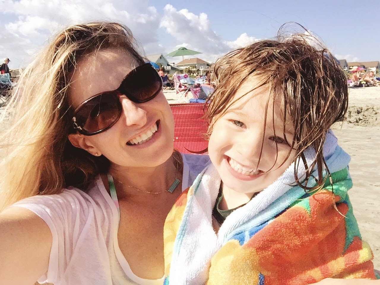 Post-run, Post-bike ride time on the beach with My little Beach Baby