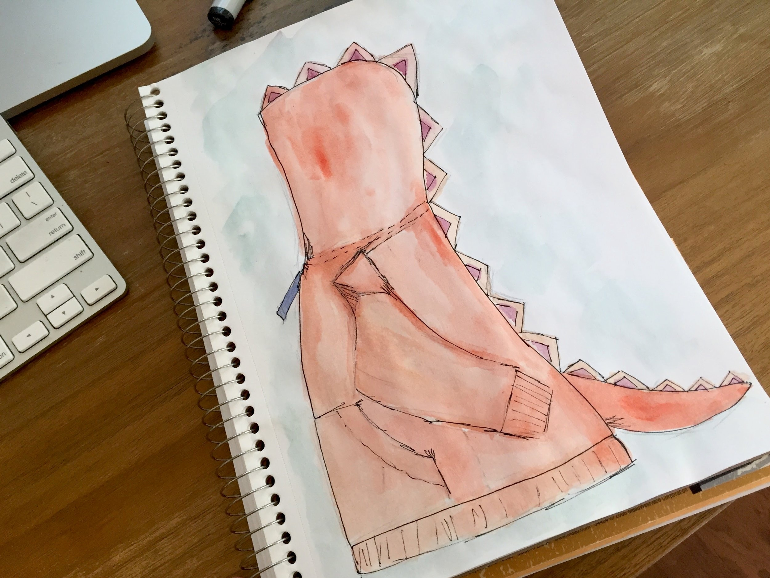 My watercolor sketch to plan out his costume
