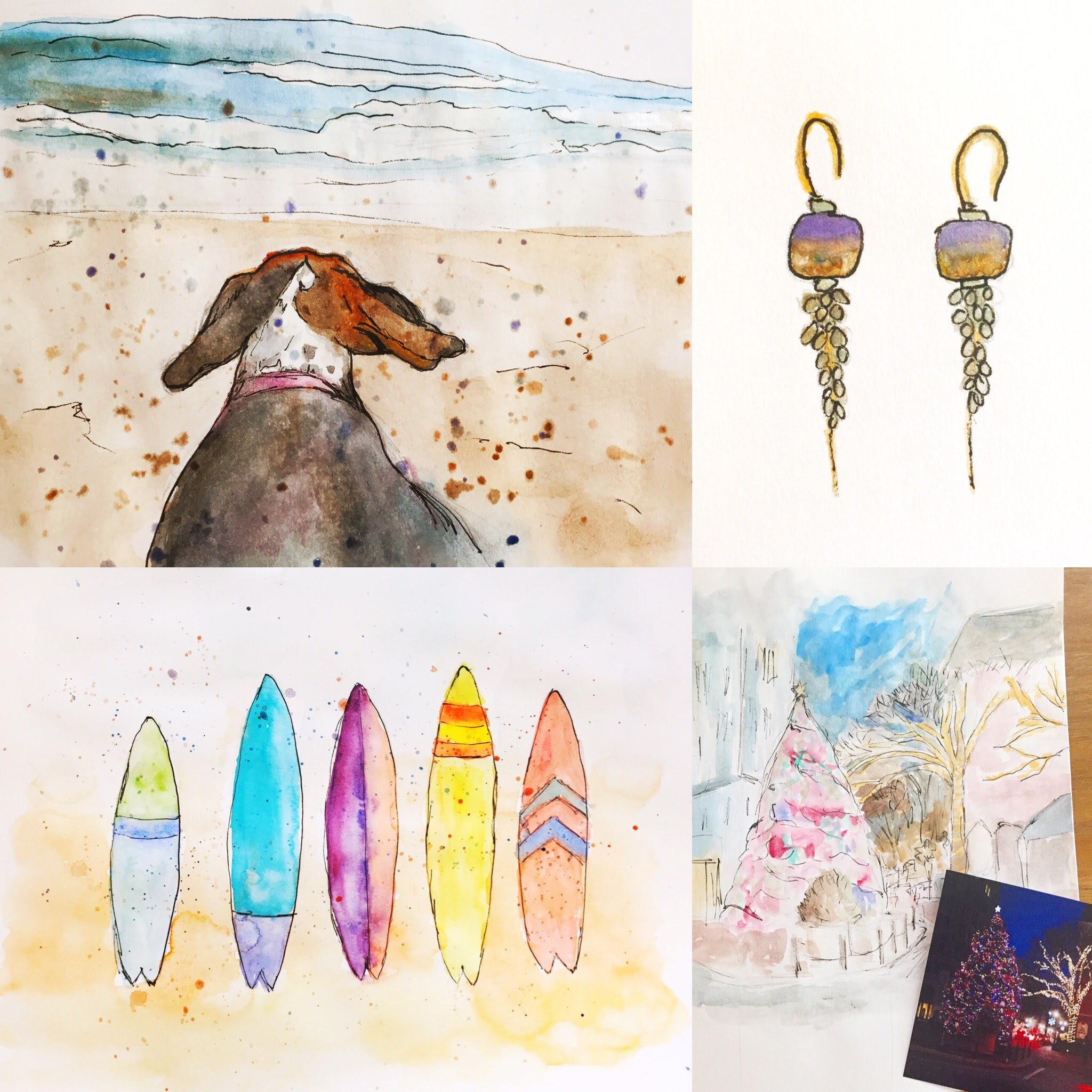 Beach beagle, earrings, Messy surfboards, Christmas in my hometown