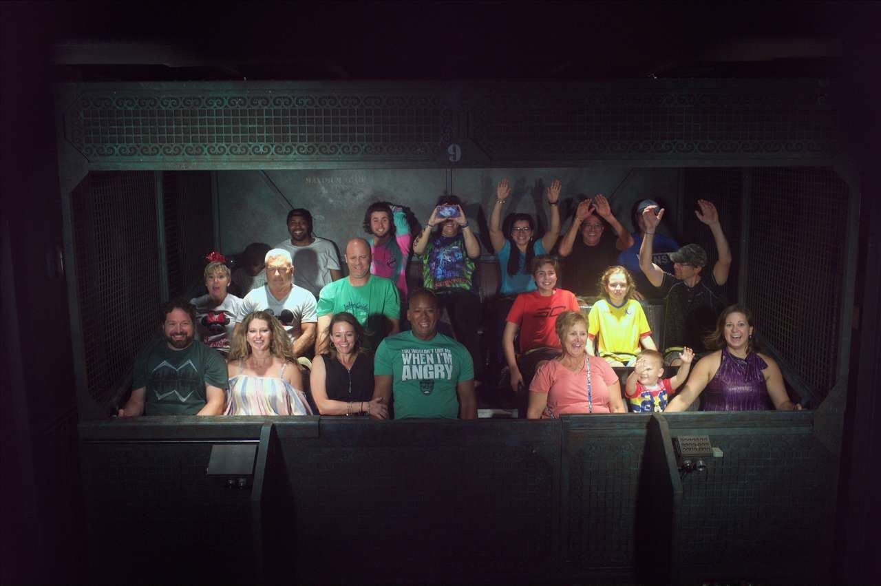 Riding the tower of terror (we're in the front row on the left)