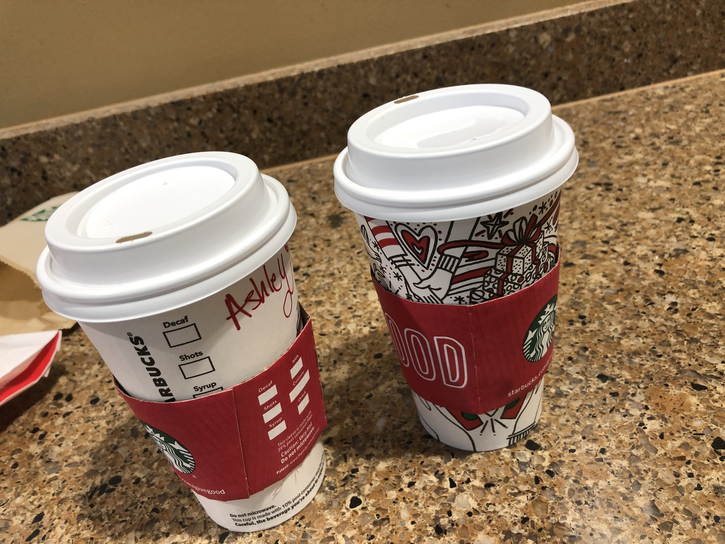 post-race coffee - it was so cold out there, we needed something warm