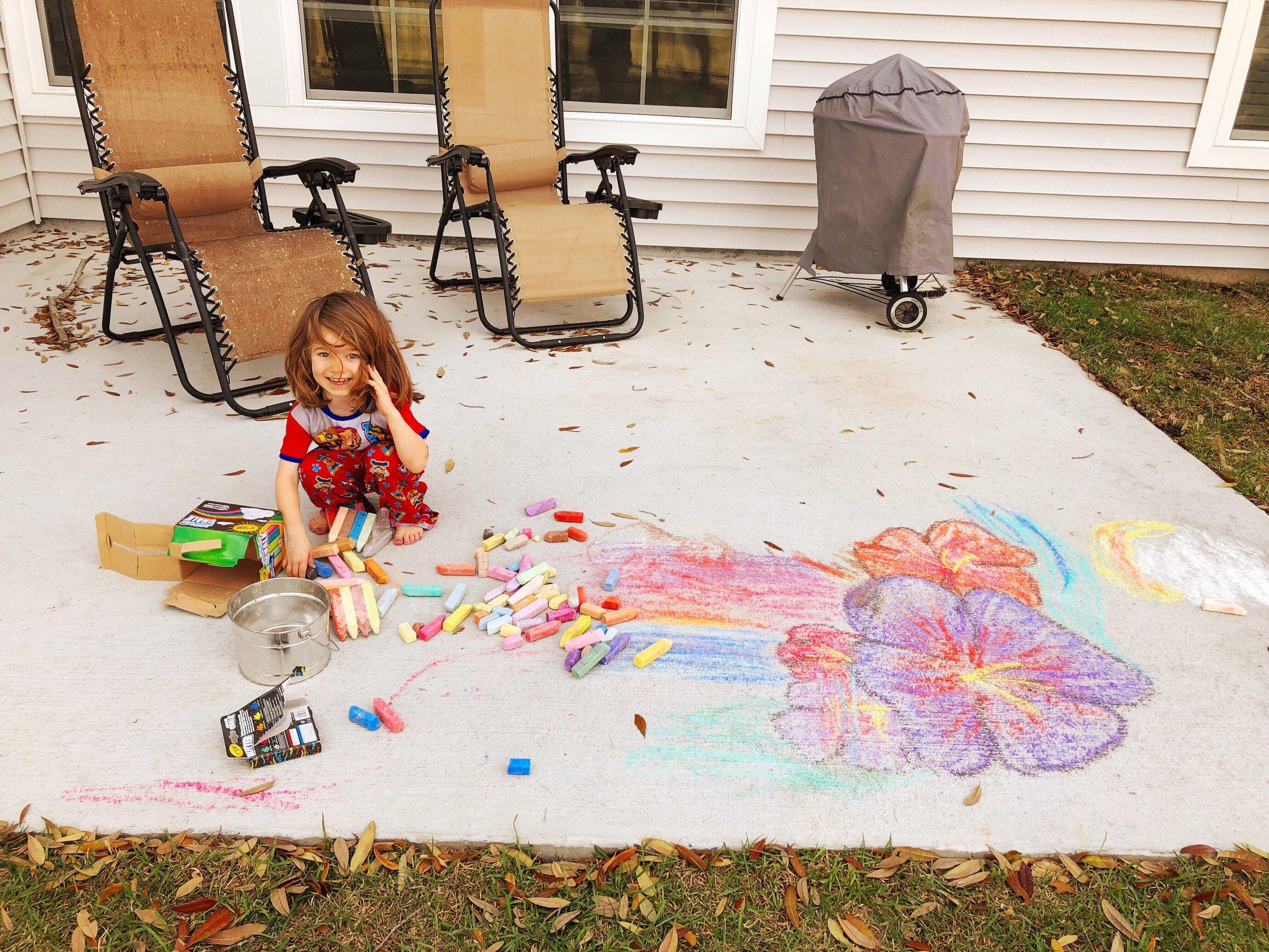 sidewalk chalk toddler art