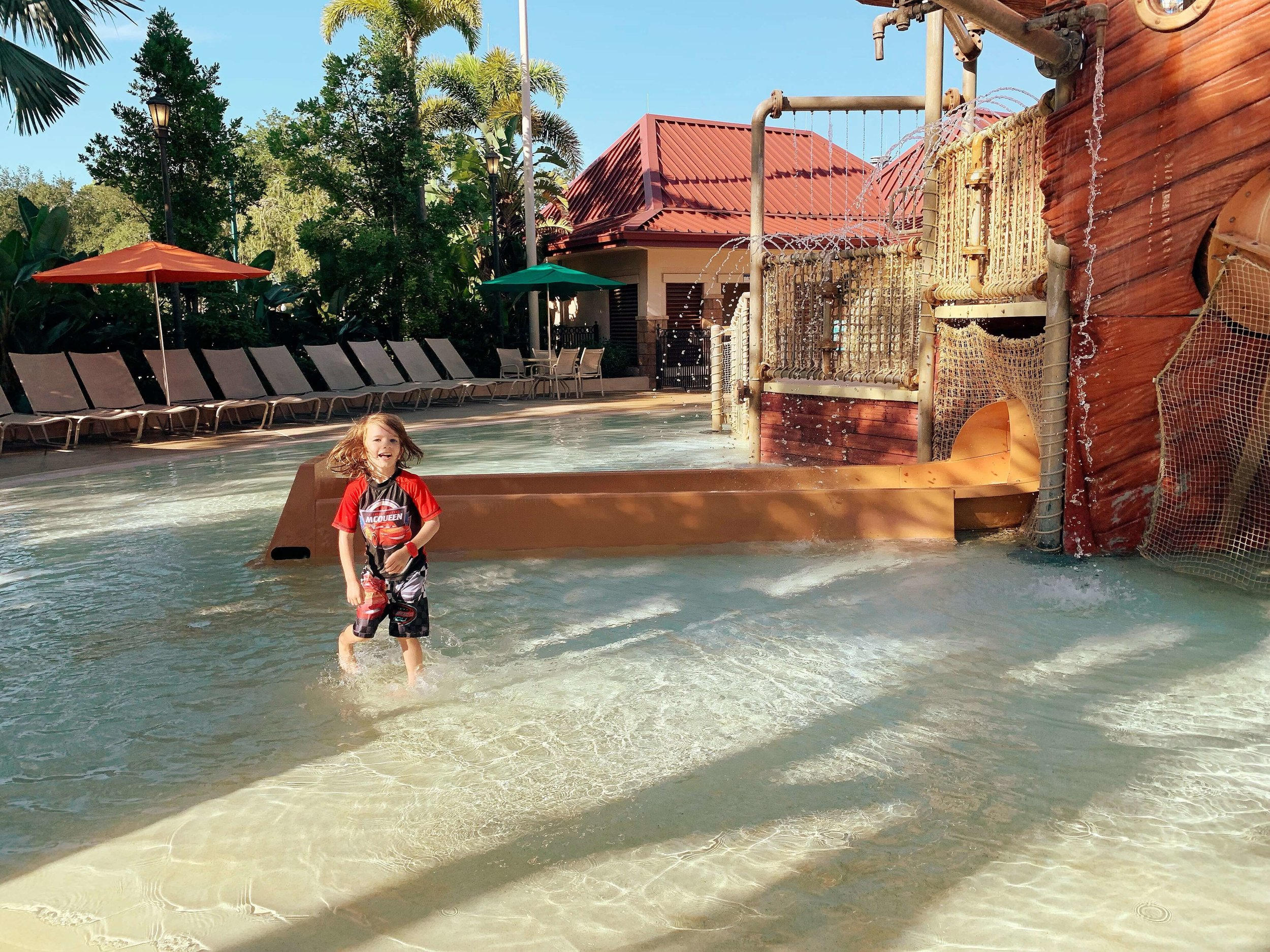 Playing in the splash pad