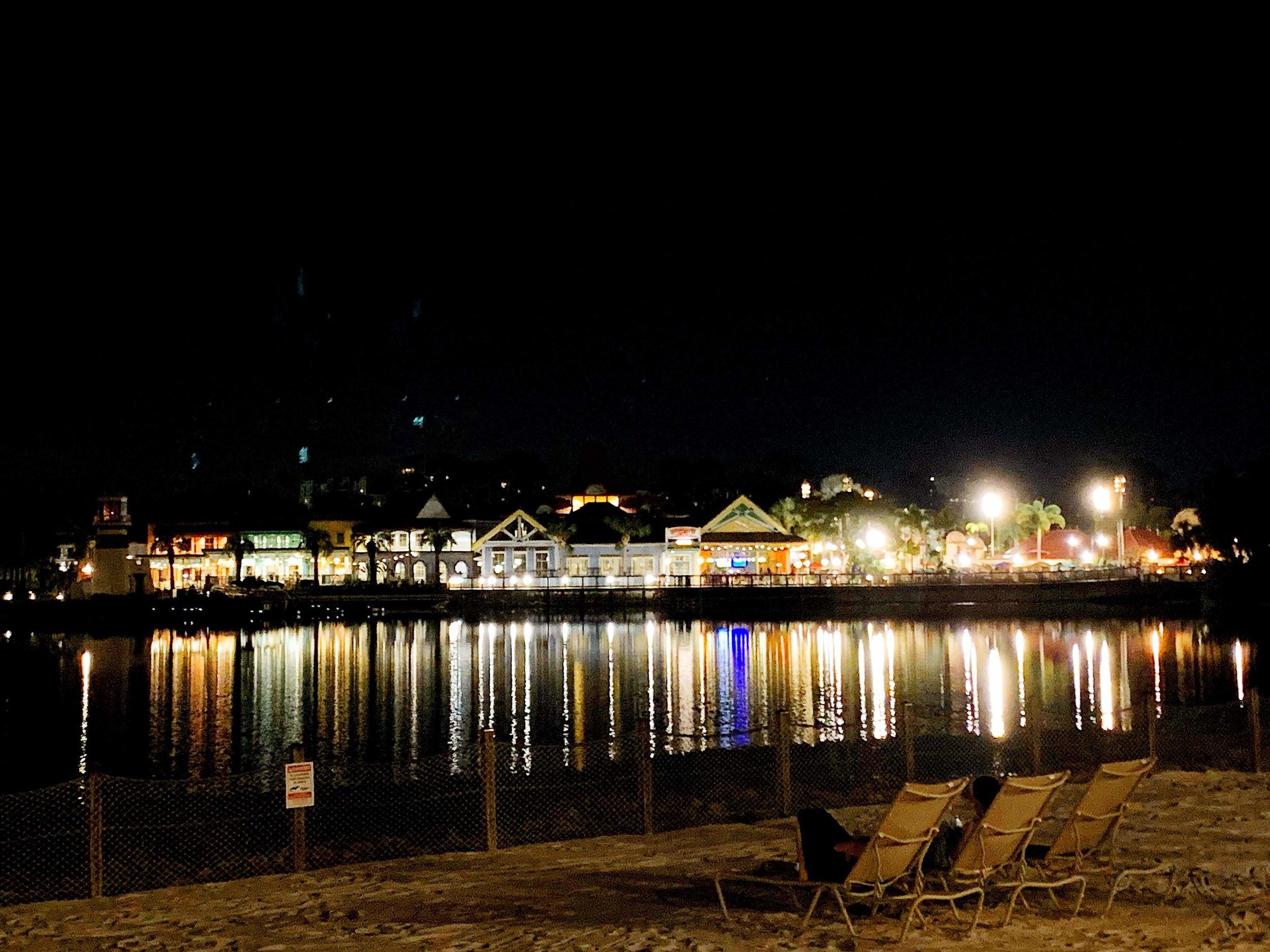 Disney's Caribbean Beach Resort at night