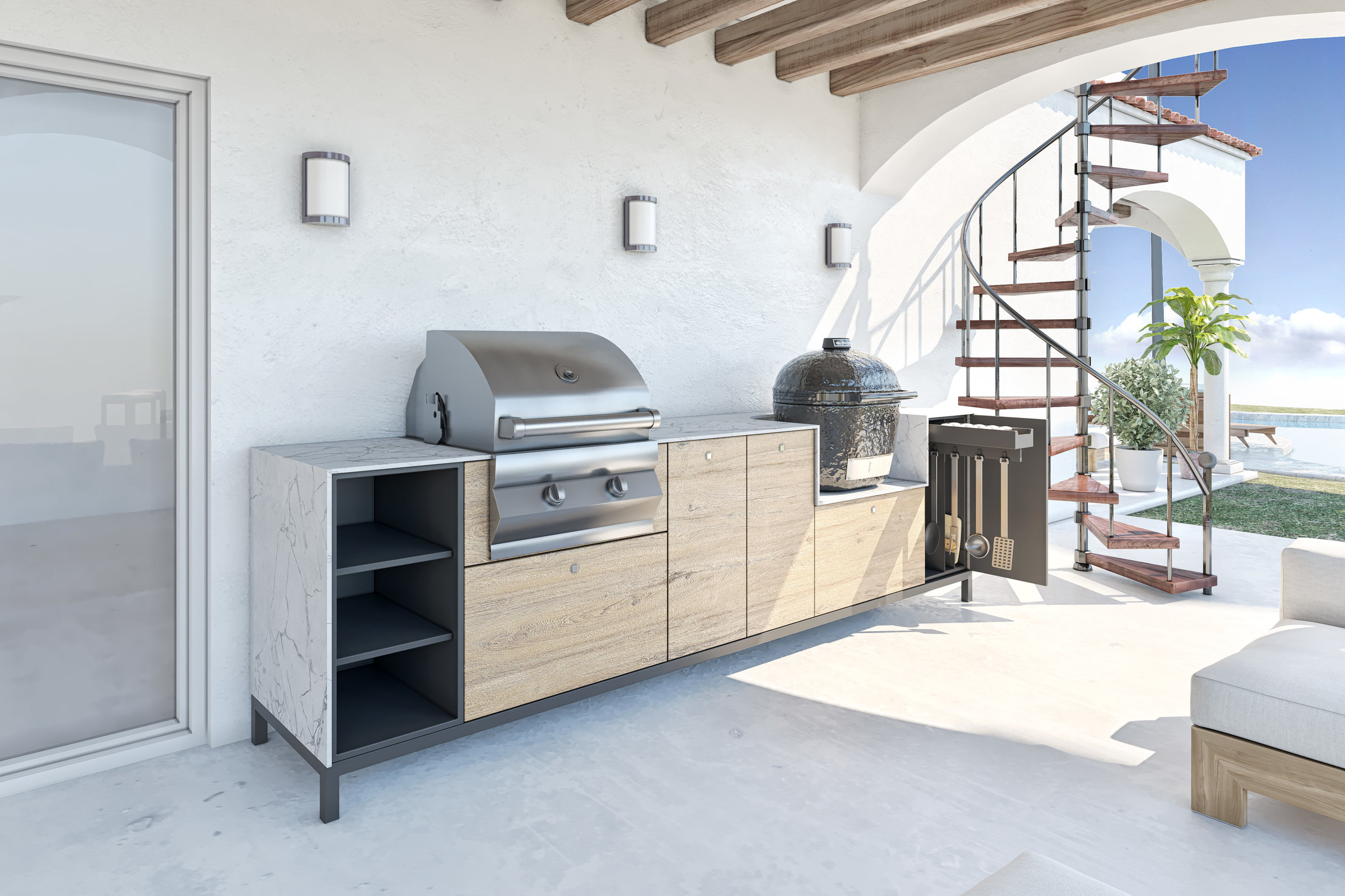 Shown above: Our Fiamma modular Italian Outdoor kitchen cabinetry.