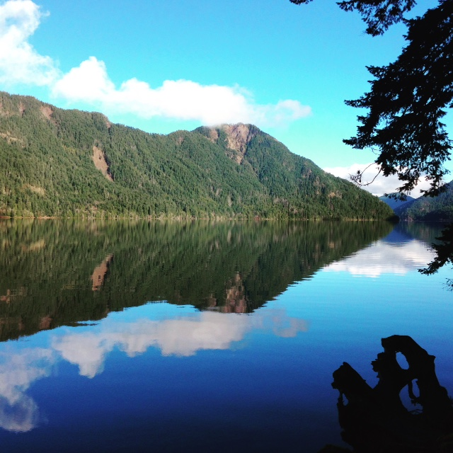 Imitation: A reflection so precise, your eyes see the mountain twice.  Exploring nature at  Lake Crescent, Washington.