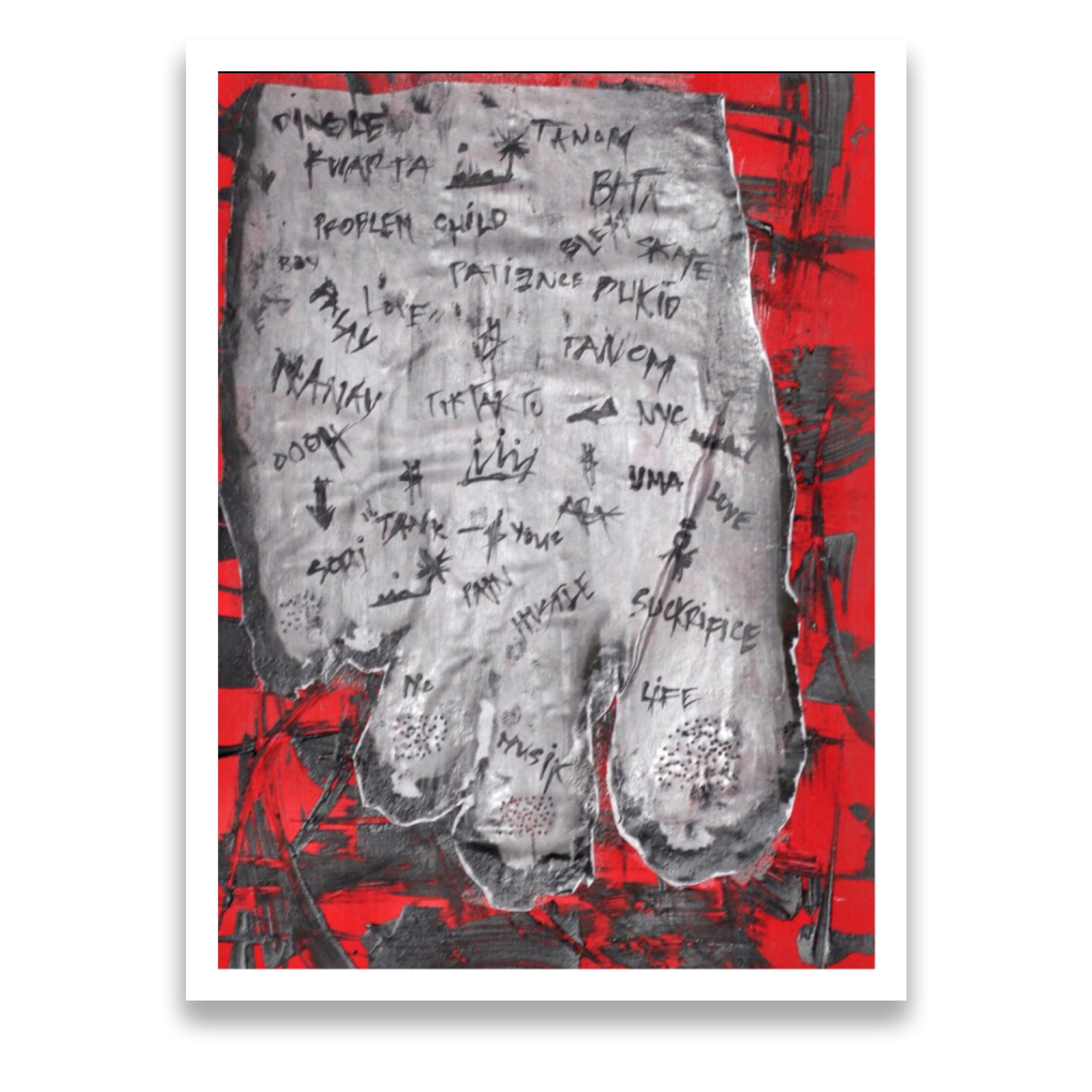 """""""Foot Soldier"""" 2013 Acrylic, photo paper in canvas paper"""