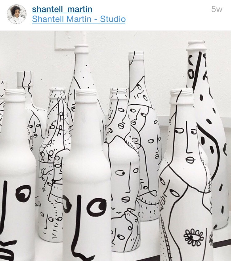 Discarded bottles turned into art by @shantell_martin