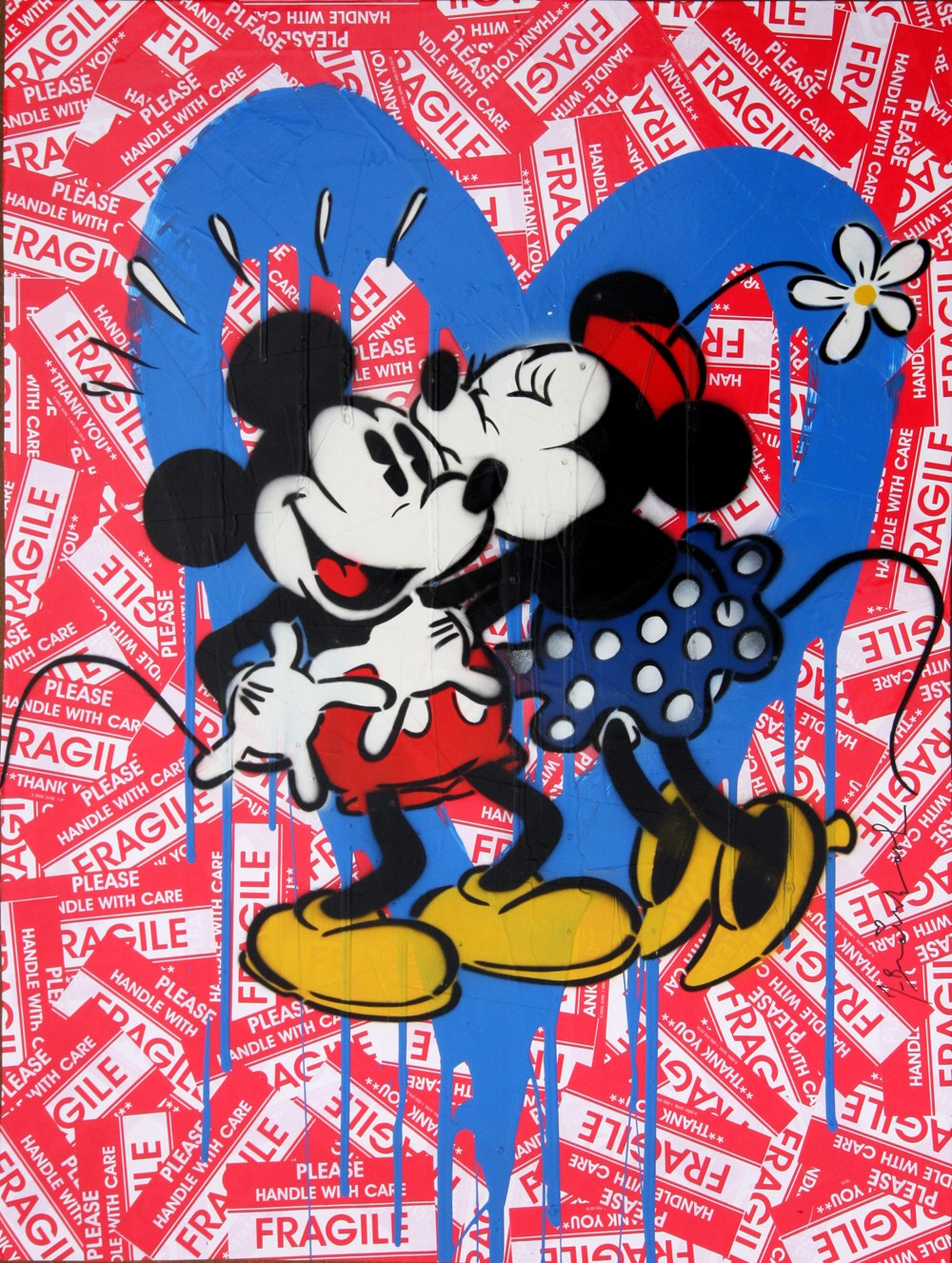 """Artwork by Mr. Brainwash """" Mickey & Minnie (Blue Heart), 2014""""   Mr. Brainwash Original Mixed Media on Paper with Stenciling, Acrylic Painting, and Spray Painting. A one-of-a-kind original artwork featuring the Mickey and Minnie Mouse kiss with Blue Heart.   Reference via   1stdibs Gallery"""