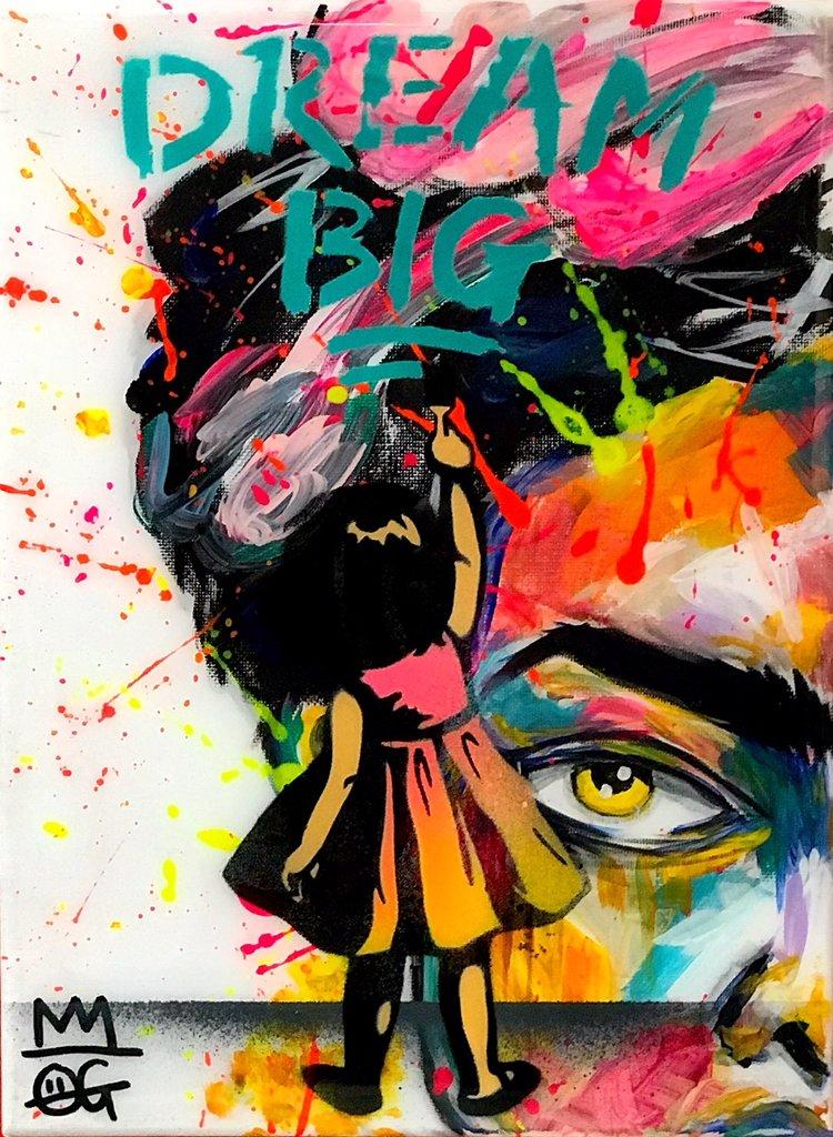 """Title: """"OG Millie Dream Big #5"""" Artist: AJ Lavilla x OG Millie Size: 9x12 inches Series: Holiday Drop 2017"""