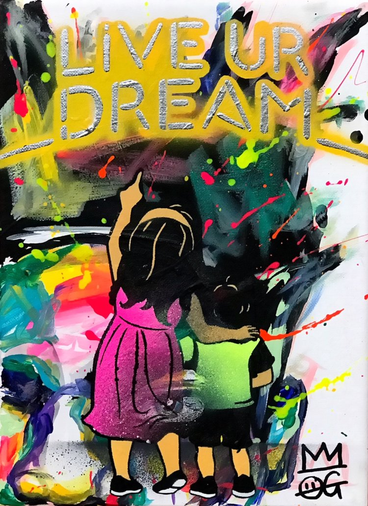 """Title: """"OG Millie Live Your Dream #1"""" Artist: AJ Lavilla x My Life In Yellow Size: 9x12 inches Series: Holiday Drop 2017"""
