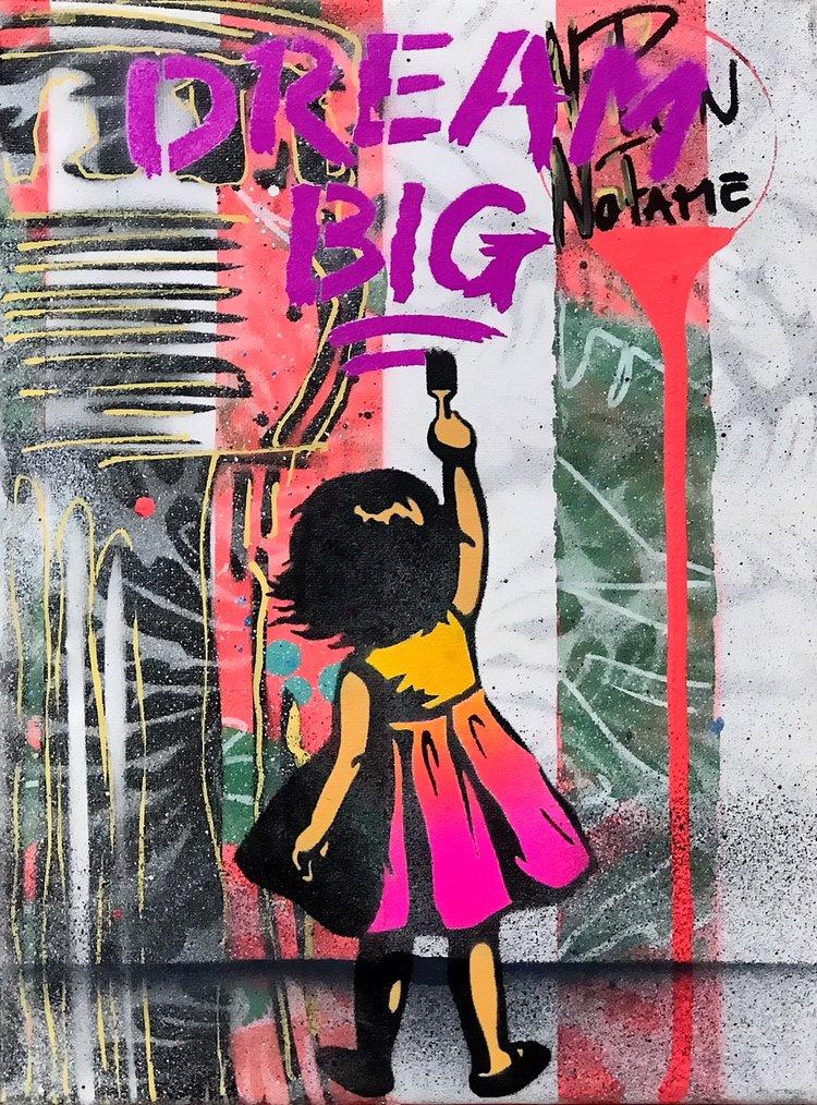 """Title: """"Sr. LaSso Dream Big #3"""" Artist: AJ Lavilla x Sr. LaSso Size: 9x12 inches Series: Holiday Drop 2017"""