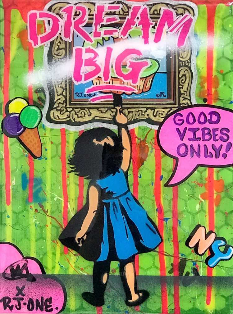 "Title: ""RJ.One Dream Big #2"" Artist: AJ Lavilla x RJ.One Size: 9x12 inches Series: Holiday Drop 2017"