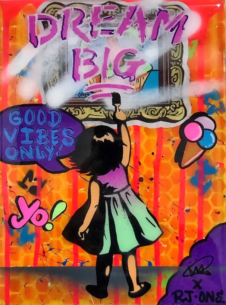 "Title: ""RJ.One Dream Big #6"" Artist: AJ Lavilla x RJ.One Size: 9x12 inches Series: Holiday Drop 2017"